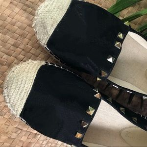 Shoes - Black espadrille shoes with gold studs